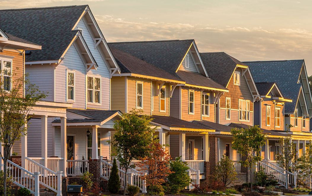 Homes with sunset at Briar Chapel community