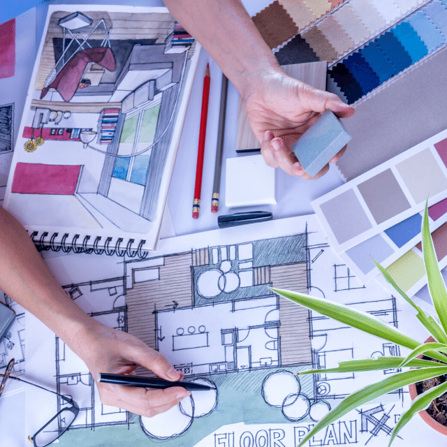 Home Design Floor Plan and Sketch with Fabric and Paint Swatches