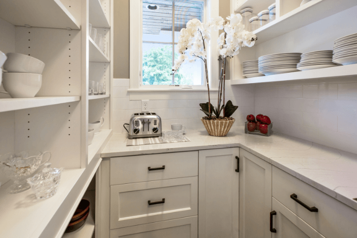 Clean white organized pantry